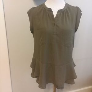 MOSSIMO Safari Green Crepe Blouse